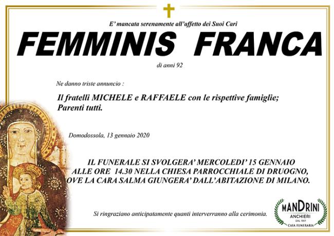 FUNEBRE FEMMINIS FRANCA