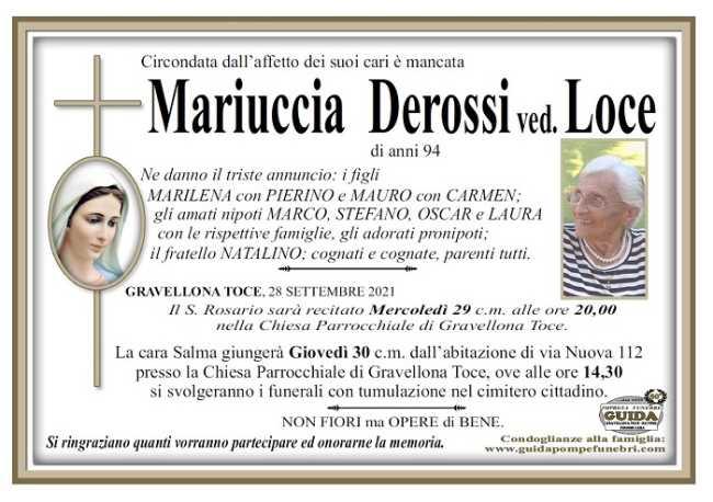 Mariuccia Derossi ved. Loce