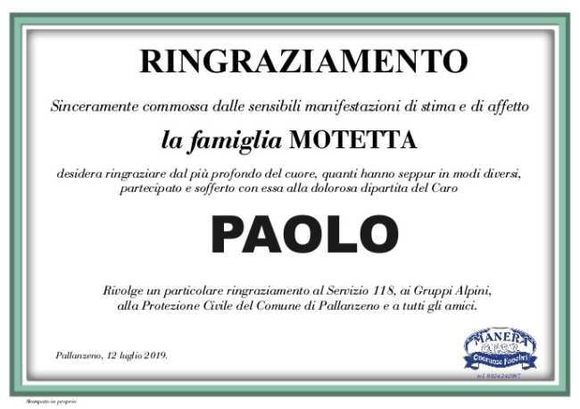 RINGRAZIAMENTO Motetta Paolo